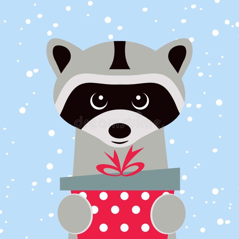 Tarjeta de Navidad Retrato del mapache con la caja de regalo, copo de nieve Cara divertida de la historieta de un mapache Ilustra stock de ilustración
