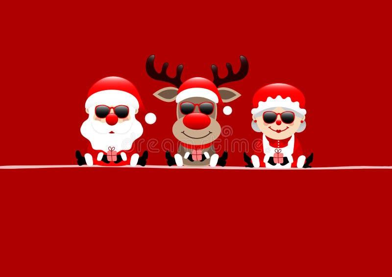 Tarjeta de Navidad roja Santa Reindeer And Wife Sunglasses stock de ilustración