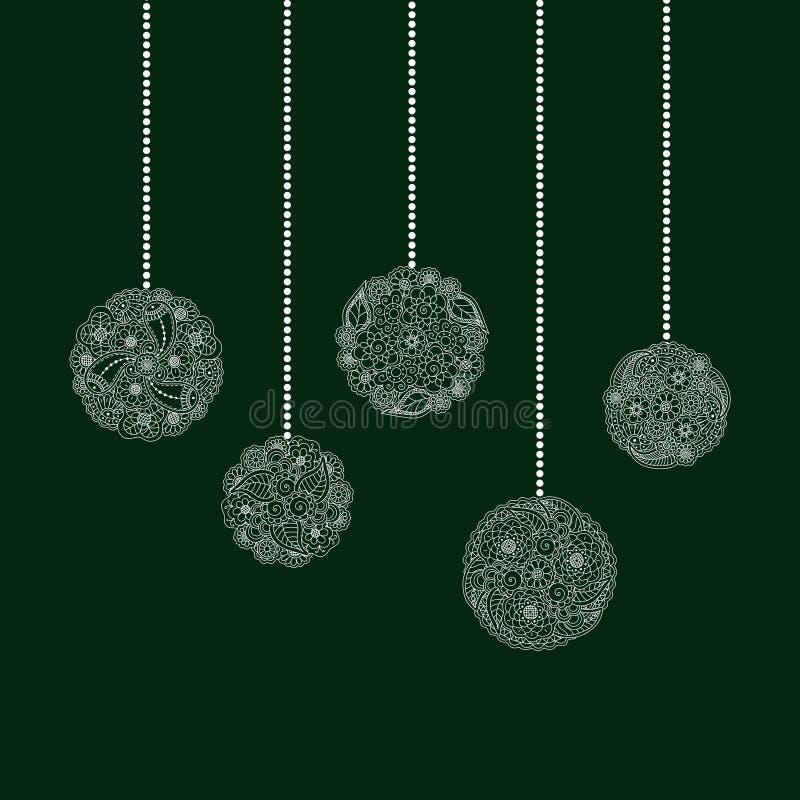 Tarjeta de Navidad de saludo decorativa del vector con la bola blanca del árbol libre illustration