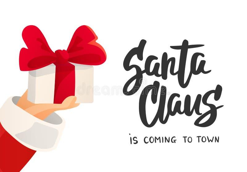 Tarjeta de Navidad Santa Claus es texto que viene Ejemplo plano de la historieta Mano que se sostiene presente con el arco ilustración del vector