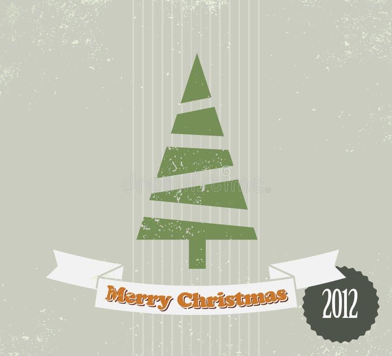Tarjeta de Navidad simple de la vendimia stock de ilustración