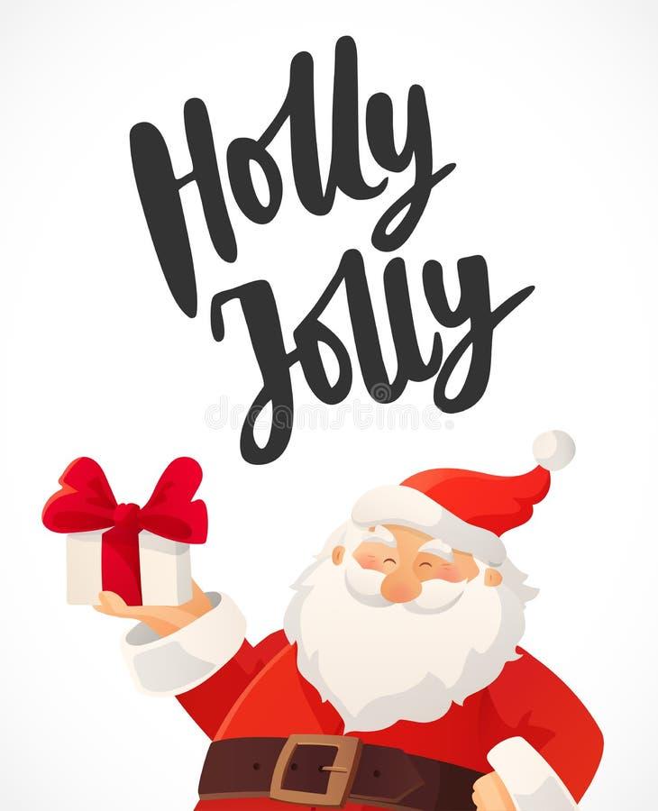 Tarjeta de Navidad Texto dibujado mano de Holly Jolly Historieta divertida Santa Claus que sostiene la caja de regalo con el arco stock de ilustración