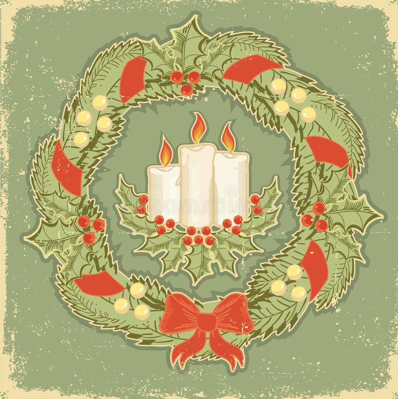 Tarjeta de Navidad. Vendimia libre illustration