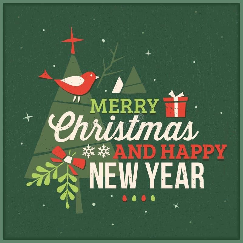 Tarjeta de Navidad verde texturizada con los objetos del texto y de la Navidad libre illustration