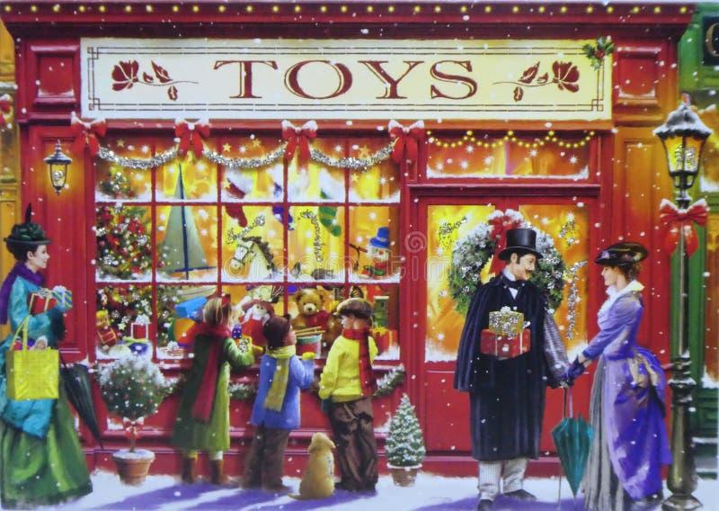 Tarjeta de Navidad victoriana del tema de Edwardian stock de ilustración