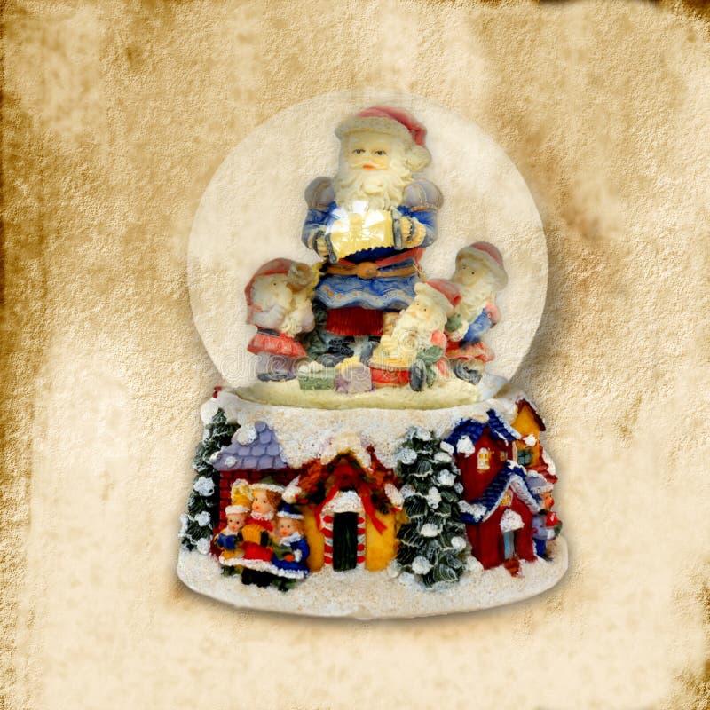 Tarjeta de Navidad vieja, bola de Papá Noel del agua fotografía de archivo libre de regalías