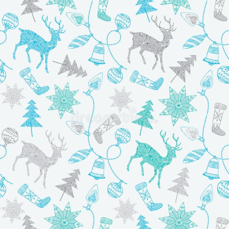 Tarjeta de Noel con los ciervos y las decoraciones de la Navidad. libre illustration