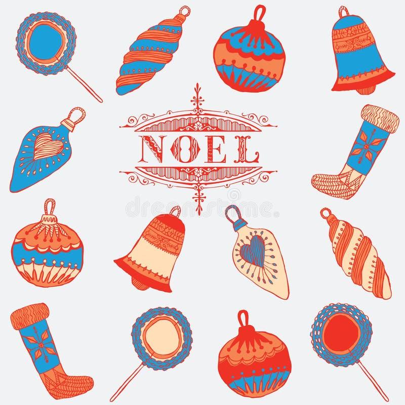 Tarjeta de Noel. Decoraciones de la Navidad. ilustración del vector