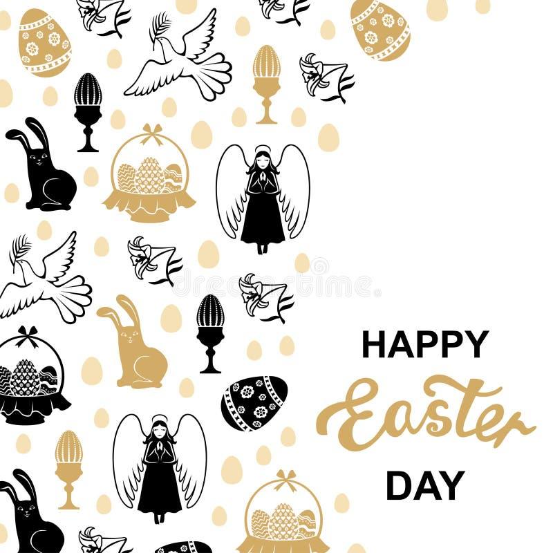 Tarjeta de oro con ángel, huevo, liebre, paloma de Pascua stock de ilustración