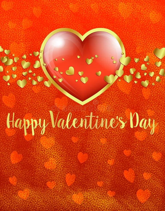 Tarjeta de oro de día de San Valentín, oro y corazón rojo en el fondo rojo del corazón - Valentine Card libre illustration