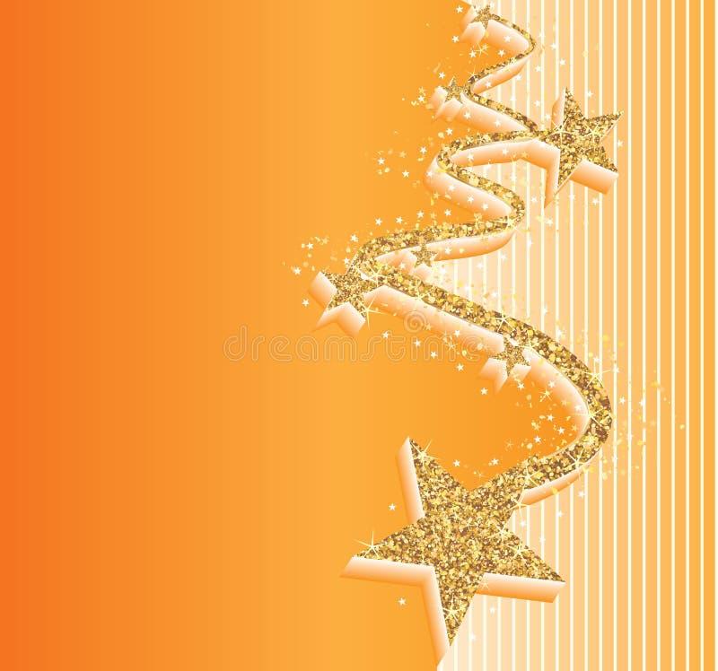 Tarjeta de oro de la naranja de la onda del brillo de la estrella ilustración del vector