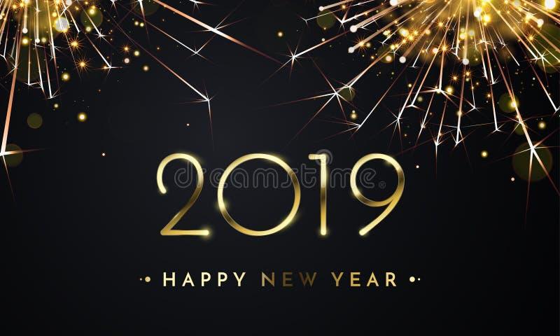 Tarjeta de oro del vector del fuego artificial de la Feliz Año Nuevo 2019 stock de ilustración