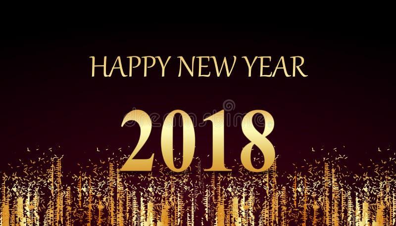 Tarjeta de oro 2018 de la Feliz Año Nuevo libre illustration