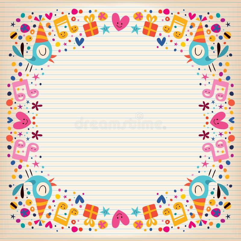 Tarjeta de papel alineada frontera del feliz cumpleaños ilustración del vector