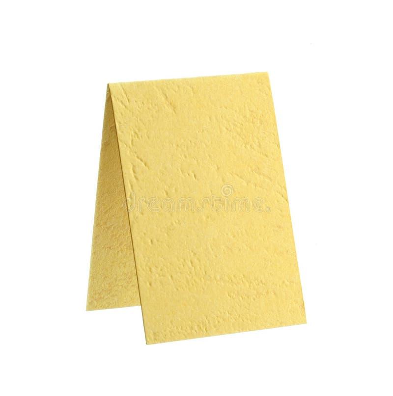 Tarjeta de papel amarilla Crossgrained foto de archivo libre de regalías
