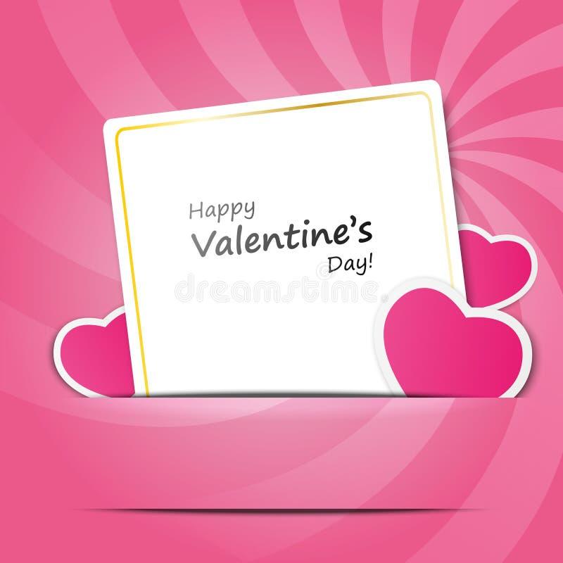 Tarjeta de papel de la tarjeta del día de San Valentín ilustración del vector