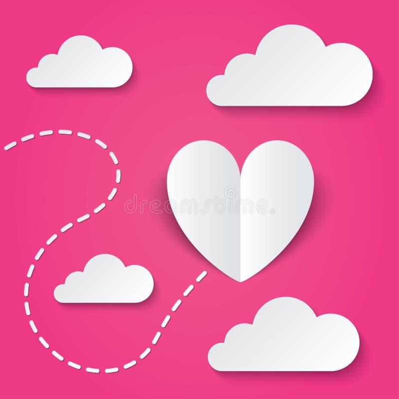 Tarjeta de papel del día de tarjetas del día de San Valentín del corazón. Manera al corazón libre illustration