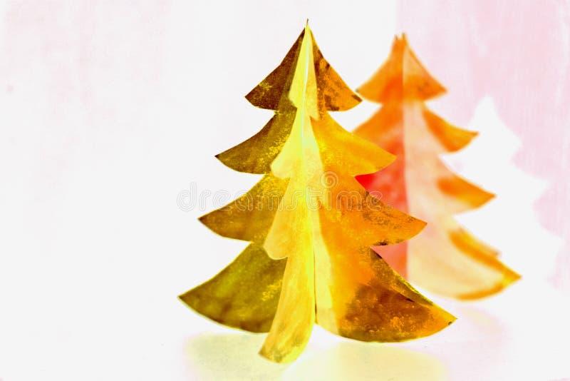 Tarjeta de papel del diseño del corte del árbol de navidad Arte de papel del árbol de navidad Diseño del corte del papel Ideal pa foto de archivo libre de regalías