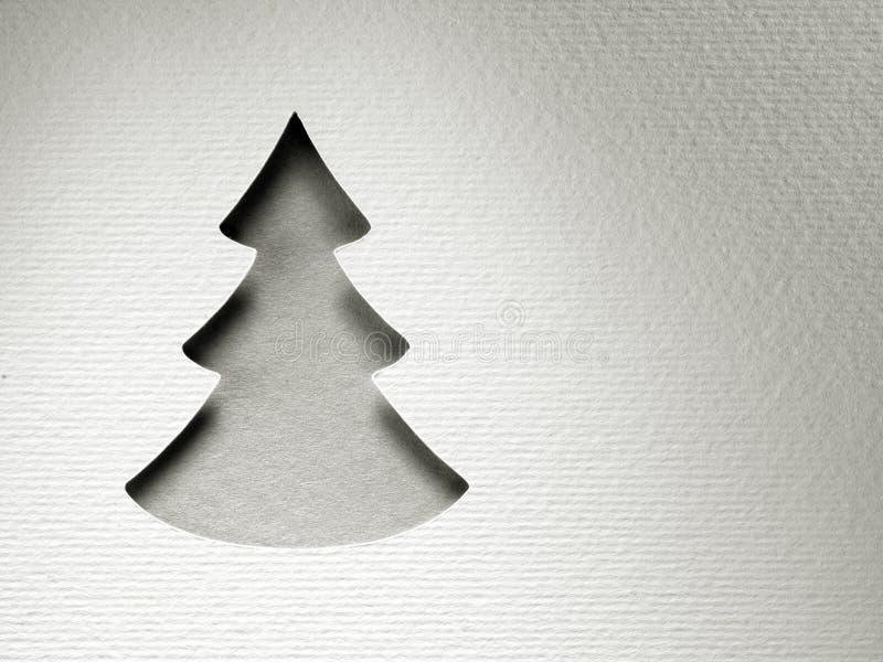Tarjeta de papel del monocromo del vintage del diseño del corte del árbol de navidad fotografía de archivo