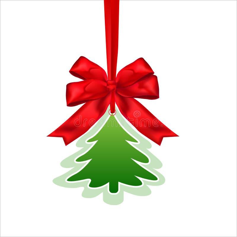 Tarjeta de papel de la Navidad con la cinta y el pino rojos del arco Fondo del invierno stock de ilustración