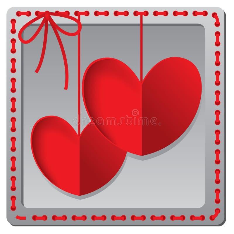 Tarjeta de papel roja del día de tarjetas del día de San Valentín del corazón stock de ilustración