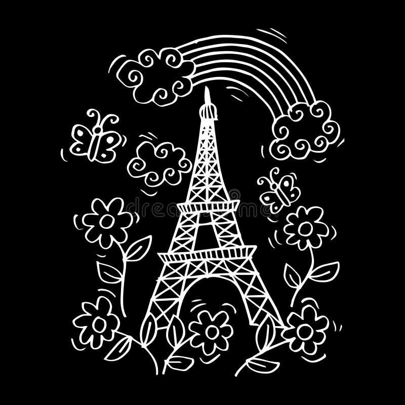 Tarjeta de París de la primavera con la torre Eiffel stock de ilustración