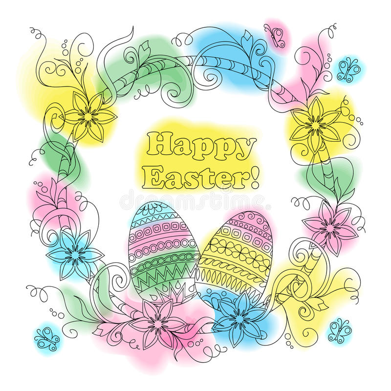 Tarjeta de pascua colorida con los huevos modelados, el marco floral y la mota ilustración del vector