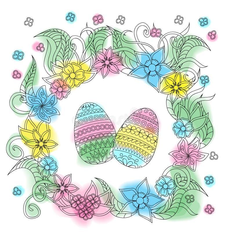 Tarjeta de pascua colorida con los huevos modelados y el marco floral libre illustration