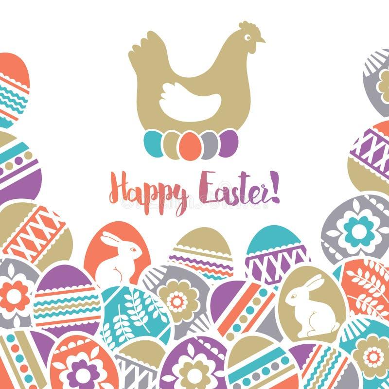 Tarjeta de pascua con el marco de los huevos de Pascua del color adornados con las flores, las hojas y los conejos sobre el fondo stock de ilustración