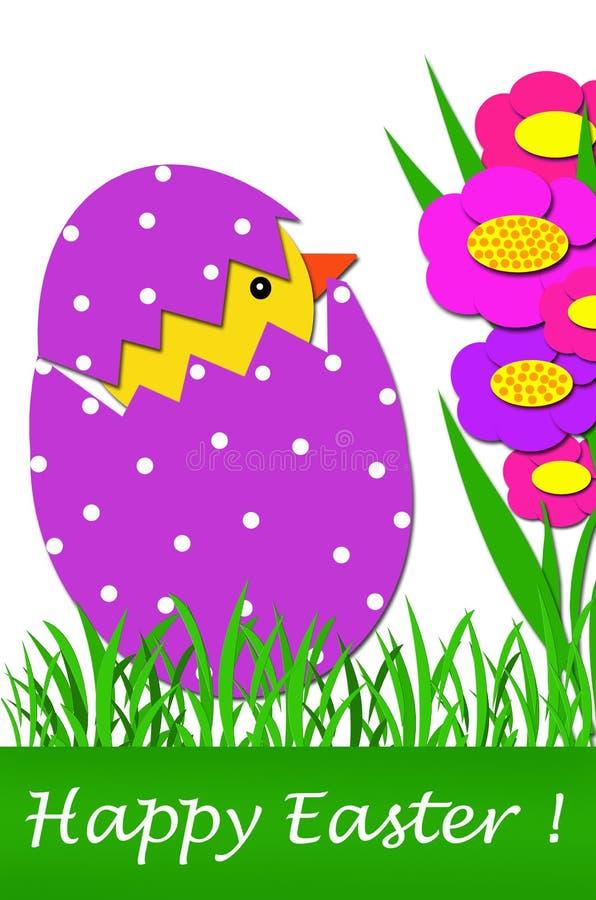 Tarjeta de pascua con el pollo en huevo stock de ilustración