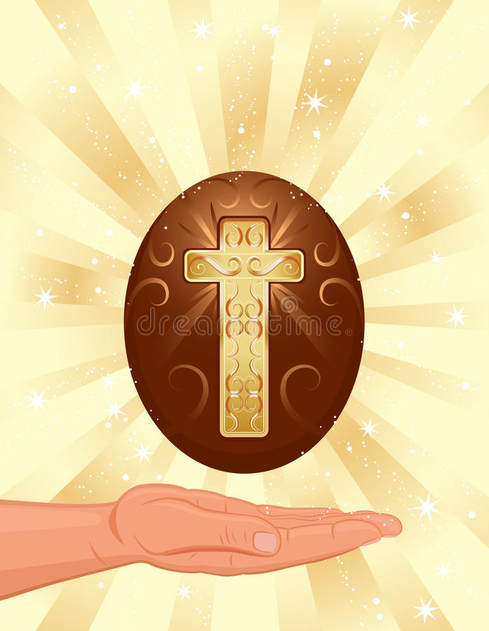 Tarjeta de pascua con la cruz cristiana de oro stock de ilustración