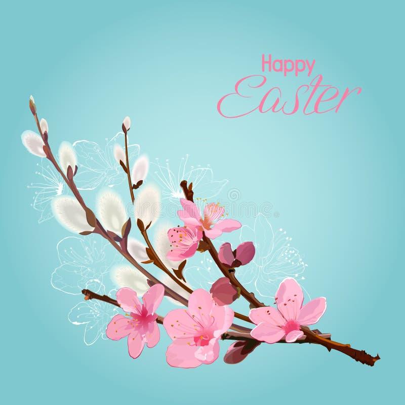 Tarjeta de pascua con las ramas de la flor de cerezo y del sauce ilustración del vector