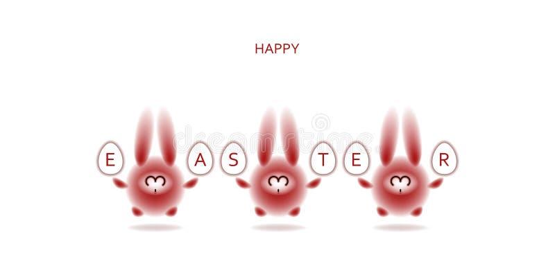 Tarjeta de pascua con los conejos para arriba ilustración del vector