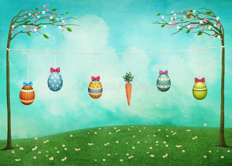 Tarjeta de pascua con los conejos y los huevos ilustración del vector