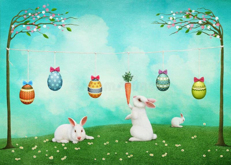 Tarjeta de pascua con los conejos y los huevos stock de ilustración