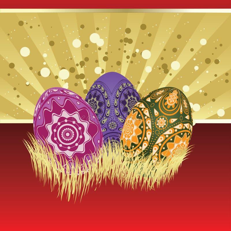 Tarjeta de pascua con los huevos ilustración del vector