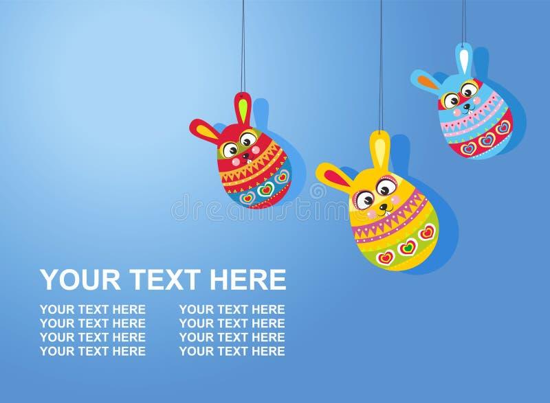 Tarjeta de pascua con los huevos del conejo de Pascua del texto tres en backg de la pendiente stock de ilustración
