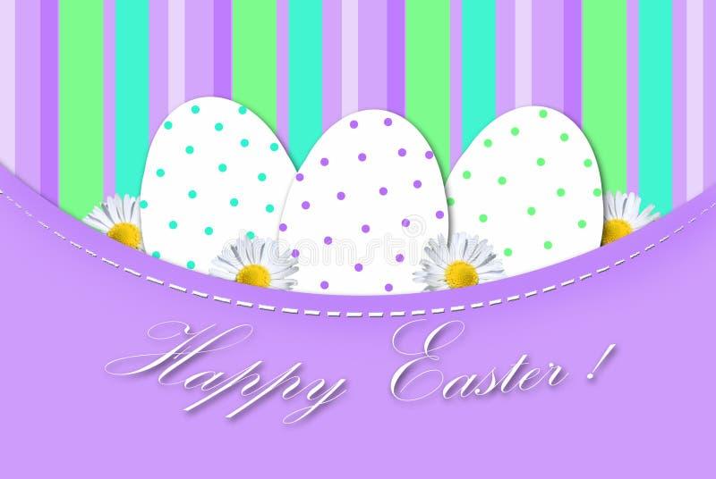 Tarjeta de pascua con los huevos en puntos libre illustration