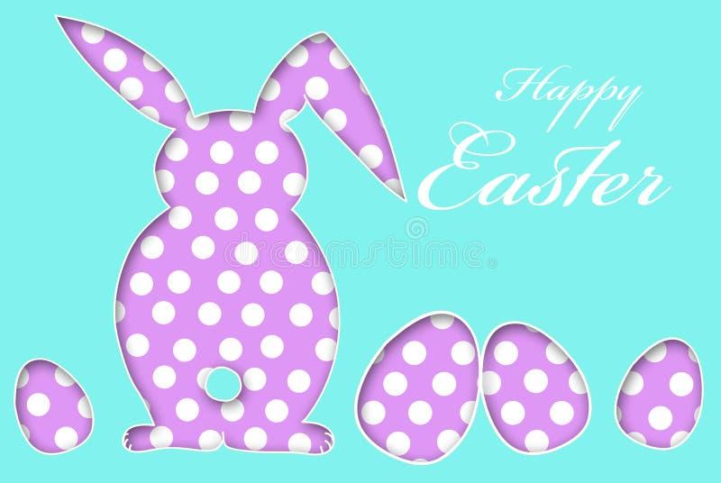 Tarjeta de pascua con los huevos y el conejo del modelo de puntos libre illustration
