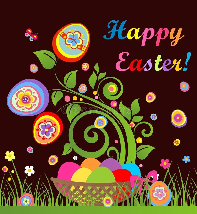 Tarjeta de pascua divertida con el árbol y cesta con los huevos coloridos stock de ilustración