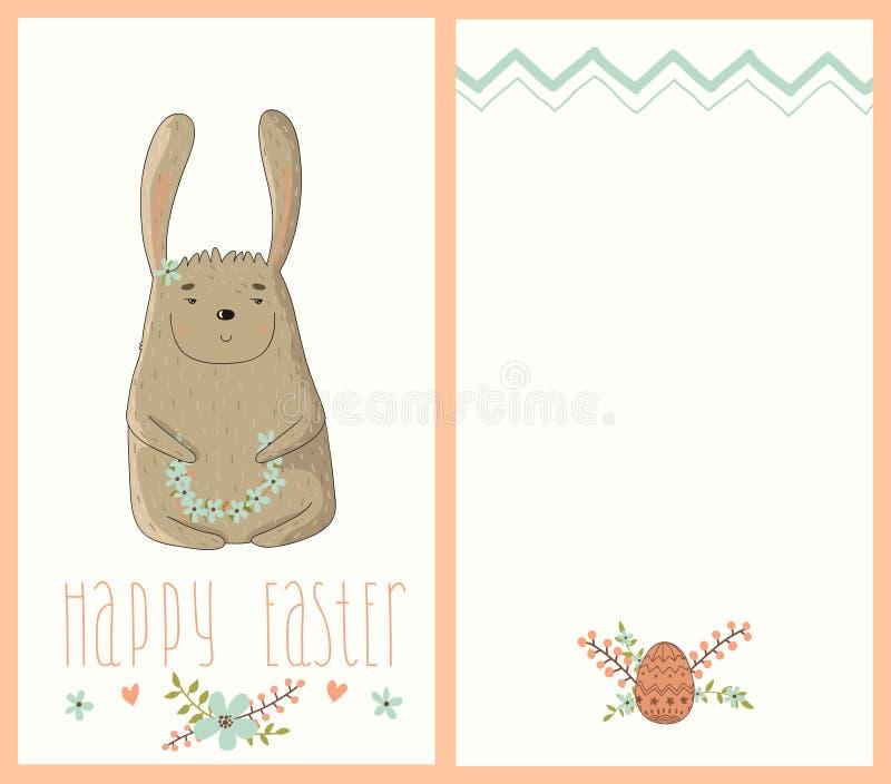 Tarjeta de pascua feliz con el conejito lindo stock de ilustración
