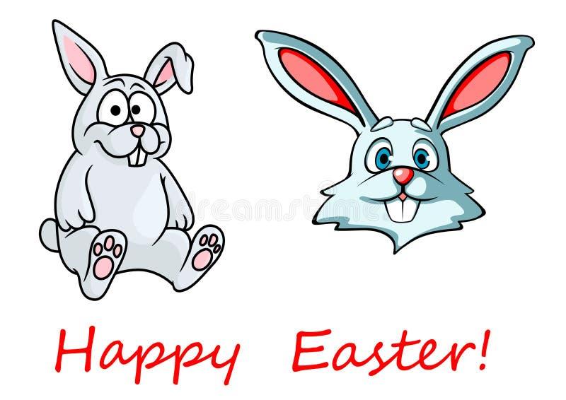 Tarjeta de pascua feliz con los conejitos de pascua stock de ilustración