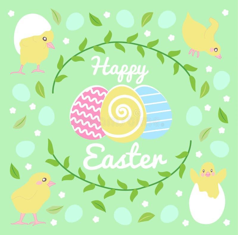 Tarjeta de pascua feliz con los huevos grandes de los multicolors, guirnalda stock de ilustración
