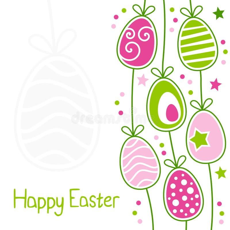 Tarjeta de pascua feliz con los huevos retros stock de ilustración