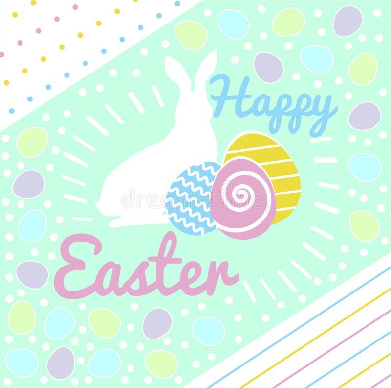 Tarjeta de pascua feliz El conejo sienta los huevos de los multicolors stock de ilustración