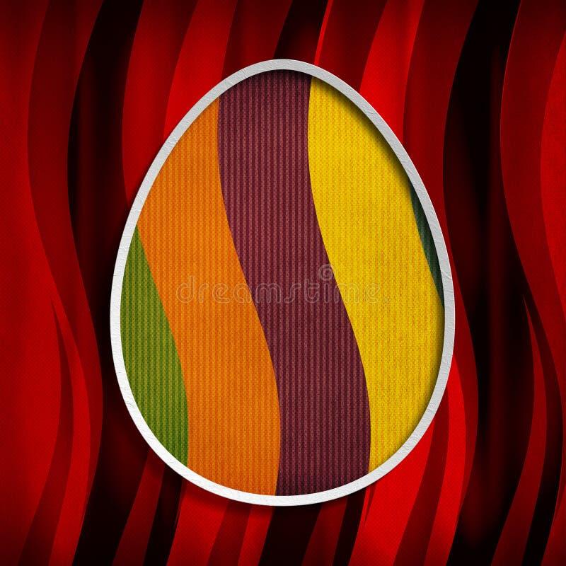 Tarjeta de pascua feliz - forma del huevo ilustración del vector