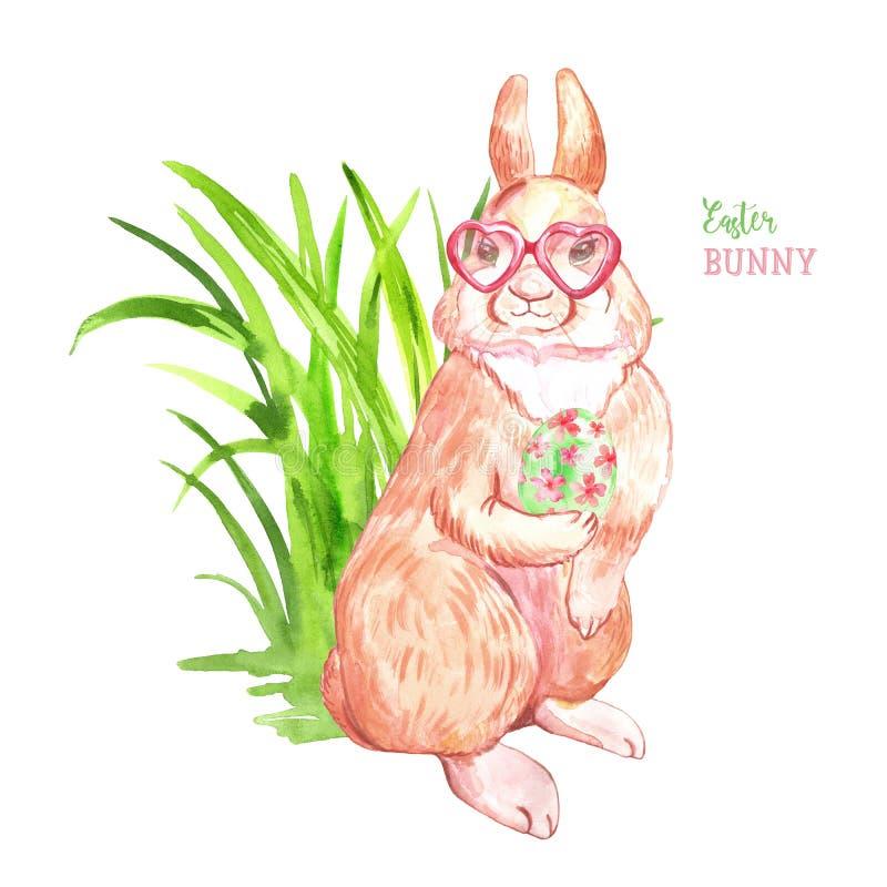 Tarjeta de pascua feliz de la acuarela con el conejo mullido lindo, el huevo coloreado y la hierba, aislados en el fondo blanco C stock de ilustración