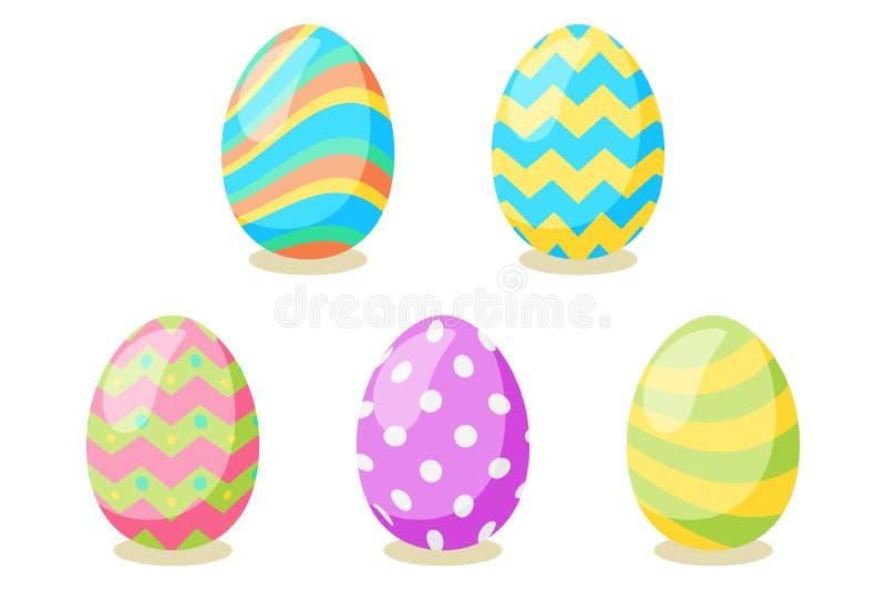 Tarjeta de pascua feliz Sistema de los huevos de Pascua lindos con diversa textura en un fondo blanco D?a de fiesta de la primave ilustración del vector