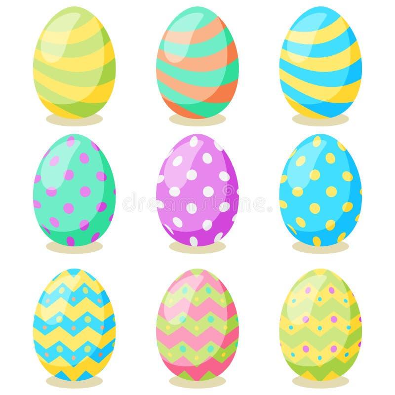 Tarjeta de pascua feliz Sistema de los huevos de Pascua lindos con diversa textura en un fondo blanco D?a de fiesta de la primave libre illustration