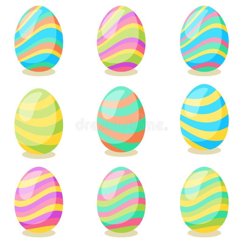 Tarjeta de pascua feliz Sistema de los huevos de Pascua lindos con diversa textura en un fondo blanco D?a de fiesta de la primave stock de ilustración